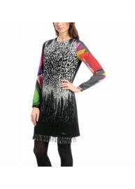 Desigual 58V28A2 Női fekete rojtos ruha