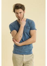Devergo 1D714004SS3822 45 Kék férfi V-nyakú póló Méret: M