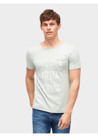 Tom Tailor 1003813 00 12 12792 zöld mintás férfi póló