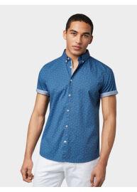 Tom Tailor 1008193 XX 10 15846 Férfi stretch fit kék-fekete-fehér mintás ing