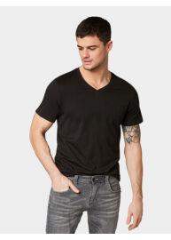 Tom Tailor 1008639 XX 10 29999 Férfi fekete v-nyakú regular fit dupla póló