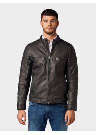 Tom Tailor 1012096 XX 10 29999 Férfi fekete koptatott bőrhatású dzseki
