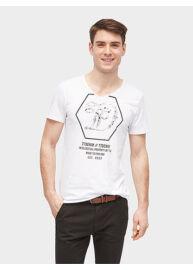 Tom Tailor 1055370 00 12 2000 Fehér mintás férfi póló