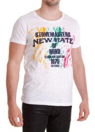 Devergo' 1D414062SS3801 fehér mintás férfi póló