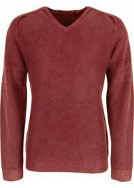 No Excess 82 210803 199 Vörös kőmosott v nyakú pulóver