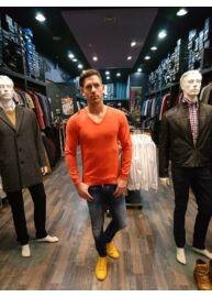 No Excess 66 230851 141 Neon sárga férfi vékony kötött pulóver