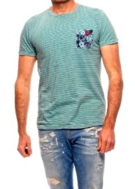 No Excess 76 350323 134 Zöld-fekete színű V-nyakú csíkos férfi póló