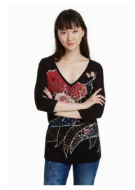 Desigual 18WWTKAL 2000 Keppary Női v nyakú hosszú ujjú póló