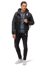 Tom Tailor 3555026 00 12 1058 Férfi fekete-szürke téliesített steppelt dzseki