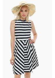 Tommy Hilfiger WW0WW21316 902 fekete-fehér csíkos ruha