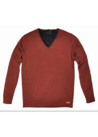 No Excess 230869 145 Férfi narancssárga színű v-nyakú pulóver