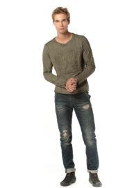 Devergo 1D724054LS0123 21 Zöld kőmossott férfi hosszú ujjú póló