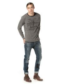 Devergo 1D724013LS0105 10 Szürke kő-mosott férfi hosszú ujjú póló Méret: 3XL/60