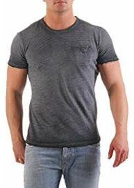 No Excess 80 320208 139 Férfi szürke színű csíkos rövid ujjú póló