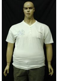 Kitaro 121176 61 férfi v fehér nyakas nagyméretű póló Méret: 6XL/66