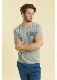 Devergo 1D714026SS0201 10 Férfi szürke feliratos póló