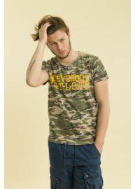 Devergo 1D714059SS3805 70 Terepmintás férfi feliratos rövid ujjú póló
