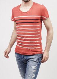 Antony Morato MMKS00627 5026 Férfi tégla színű csíkos póló