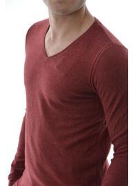 Tom Tailor 3018534 00 15 4499 Bordó kötött v-nyakú férfi pulóver