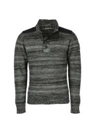 No excess 78 230935 020 Fekete szürke cipzáros kötött férfi pulóver