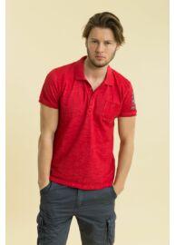 Devergo 1D714030SS2422 39 Piros férfi feliratos rövid ujjú galléros póló