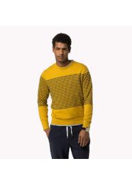 Tommy Hilfiger 08878A1704 923 mustársárga-sötétkék csíkos pulóver