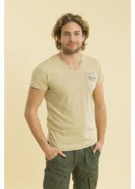 Devergo 1D714004SS3805 51 Férfi világosbarna V-nyakú rövid ujjú póló