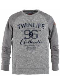 Twinlife msw 651431 7503 Teal blue kék férfi nagyméretű pulóver