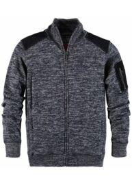Twinlife msw 651434 navy melange cipzáros férfi nagyméretű pulóver