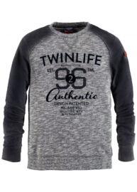 Twinlife msw 651431 6676 Teal blue szürkés-kék férfi nagyméretű pulóver