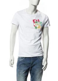 Devergo' 1D514002SS0104 1 Hawaii mintás férfi póló  fehér