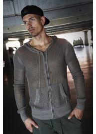 Antony Morato MSW00133 barna kötött hálós nyári kapucnis pulóver