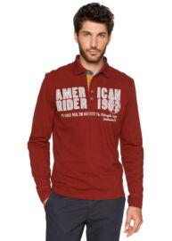 Tom Tailor 1528571 00 10 4499 vörös galléros férfi hosszú ujjú póló