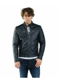 Devergo 1D923033KA9000 16 Férfi bőrhatású fekete dzseki