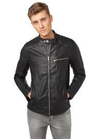 Tom Tailor Denim 3722152 02 12 2999 férfi fekete bőrhatású dzseki műbőrkabát