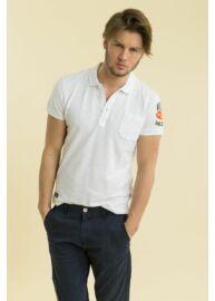 Devergo 1D714030SS2422 1 Fehér férfi feliratos rövid ujjú galléros póló