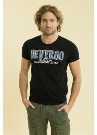Devergo 1D714045SS0101 16 Fekete férfi feliratos rövid ujjú póló