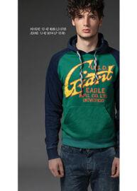 Devergo' zöld és sötétkék kapucnis pulóver 1D424086LS0705