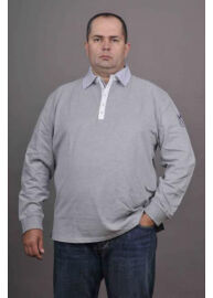 Kitaro 125228 5107 Szürke galléros férfi hosszú ujjú póló