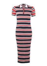 Tommy Hilfiger WW0WW18106 901 Piros-kék-fehér csíkos ruha