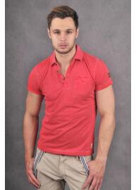 No Excess 640350351 piros galléros férfi póló