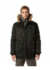 Devergo 1D723015KA1600 16 Fekete-farmer színű hosszított férfi télikabát