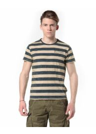 Devergo 1D814011SS0124 214 hátán feliratos csíkos férfi póló