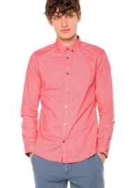Tom Tailor 2033948 00 10 4797 rózsaszín mintás hosszú ujjú férfi ing
