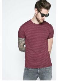 Tommy Hilfiger Denim DM0DM02814 674 Burgundy vörös színű fehér csíkos férfi póló