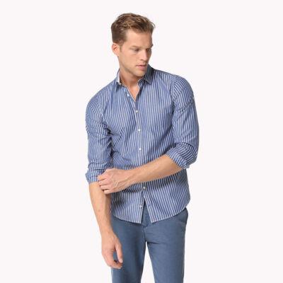 Tommy Hilfiger 0887872374 474 Kék-fehér csíkos férfi hosszú ujjú ing
