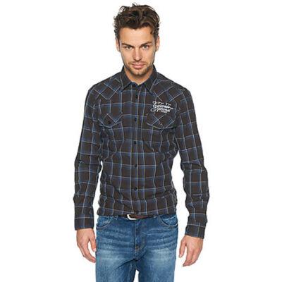 Tom Tailor 2028910 00 10 8459 barna-kék kockás hosszú ujjú férfi ing