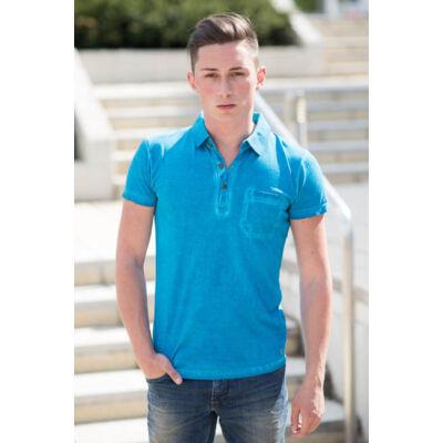 No Excess 72 350245 036 kék galléros férfi póló