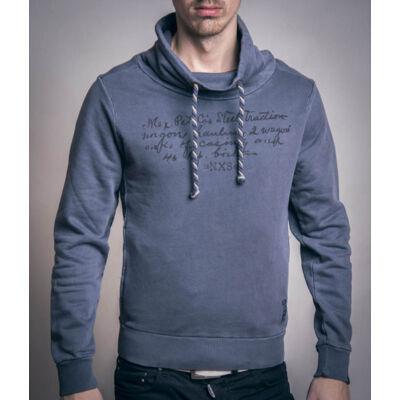 No Excess 70 1300805 025 Szürke sálgalléros férfi pulóver