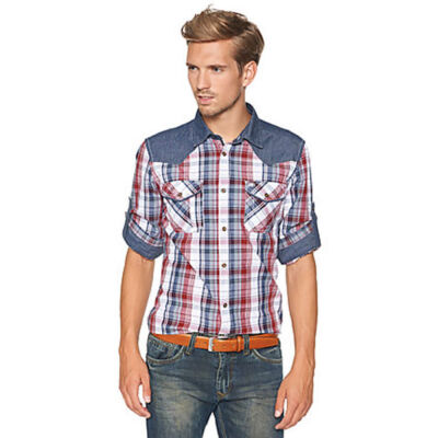 Tom Tailor 2019950 00 10 449 piros kockás hosszú ujjú férfi ing